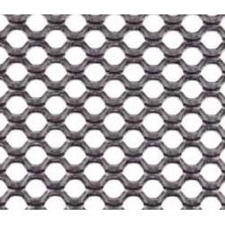Lamiera stirata tonda spianata in alluminio (lega 1050) dalle dimensioni di 100x200cm spessore 1mm, foro ø2,5mm, passo (