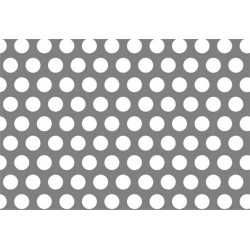 Lamiera forata in fe dalle dimensioni 50x50 cm, spessore 0,8mm, foro ø1,5mm, passo 2,5mm a 60°