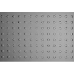 Lamiera bugnata in fe ( acciaio comune ) dalle dimensioni di 100x200 cm spessore 1,5 mm bugna D.15 passo 36,38 a 90°