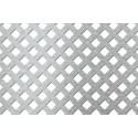 Lamiera forata in alluminio (lega 1050) dalle dimensioni 100x200cm, spessore 1mm, foro quadro 10,5x10,5mm, passo 18mm a