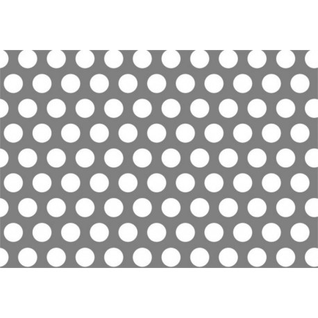 Lamiera forata in alluminio (lega 1050) dalle dimensioni 125x250cm, spessore 2mm, foro rotondo Ø2mm, passo 3,5mm a 60°