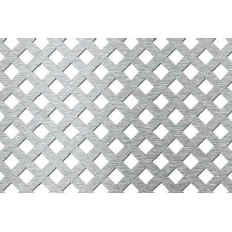 Lamiera forata in fe (acciaio comune) dalle dimensioni 100x200cm, spessore 1mm, foro quadro 10,5x10,5mm, passo 18mm a 45