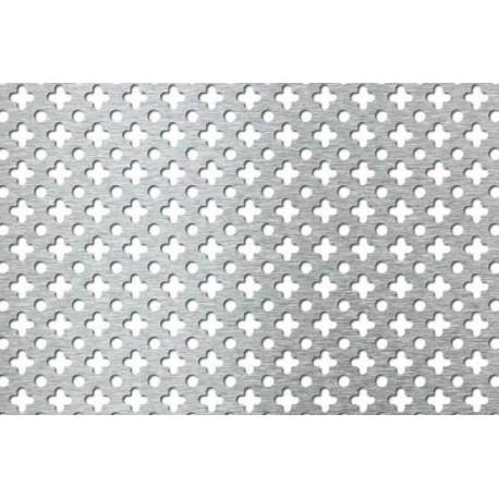 Lamiera forata in fe (acciaio comune) dalle dimensioni 100x200cm, spessore 1mm, foro fiore dimensione 10mm passo 15mm co