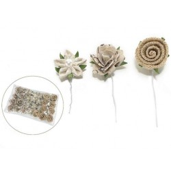 27 fiori in juta e stoffa con gambo modellabile