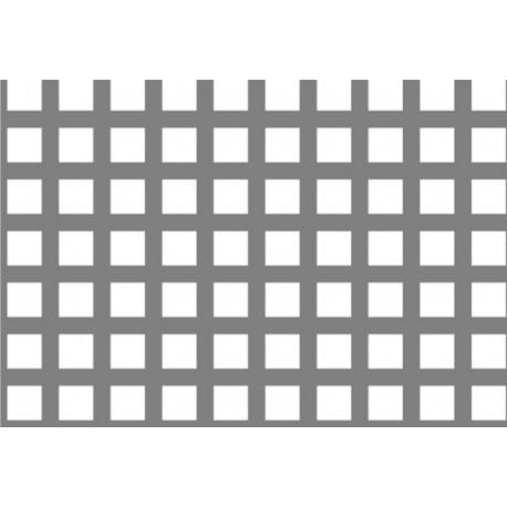 Lamiera forata in alluminio (lega 1050) dalle dimensioni 100x200cm, spessore 1mm, foro quadro 10x10mm, passo 15mm a 90°
