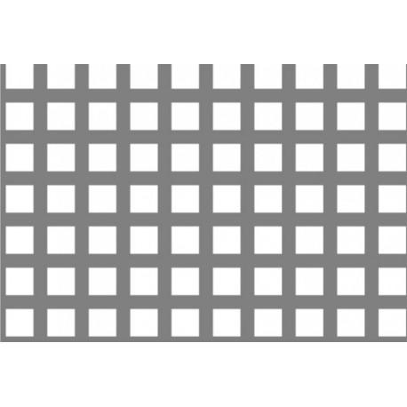 Lamiere in alluminio ( lega 1050 ) dalle dimensioni 100x200 cm spessore 1,5mm foro quadro 7x7 passo 10 a 90°