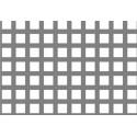 Lamiera forata in alluminio (lega 1050) dalle dimensioni 100x200cm, spessore 1,5mm, foro quadro 7x7mm, passo 10mm a 90°