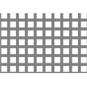 Lamiera forata in alluminio (lega 1050) dalle dimensioni 100x200cm, spessore 1mm, foro quadro 10x10mm, passo 12mm a 90°
