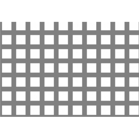 Lamiere in alluminio ( lega 1050 ) dalle dimensioni 100x200 cm spessore 1mm foro quadro 7x7 passo 10 a 90° VPS 49%