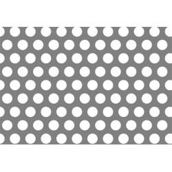 Lamiera forata in sendzimir dalle dimensioni di 150x300cm, spessore 1mm, foro ø5mm, passo 8mm a 60°
