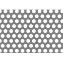 Lamiera forata in alluminio (lega 1050) dalle dimensioni 100x200cm, spessore 0,8mm, foro ø5mm, passo 8mm a 60°