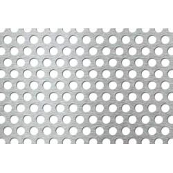 Lamiera forata in alluminio (lega 1050) dalle dimensioni 150x300cm, spessore 2mm, foro ø10mm, passo 15mm a 60°