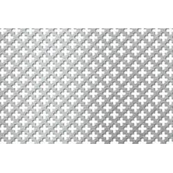 Lamiera forata in fe (acciaio comune) dalle dimensioni 100x200cm, spessore 1mm, foro fiore dimensione 11mm, passo 16mm
