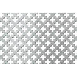 Lamiera forata in fe (acciaio comune) dalle dimensioni 100x200cm, spessore 1mm, foro fiore dimensione 15mm passo 25mm