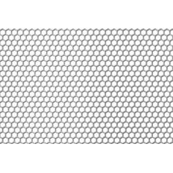 Lamiera forata in fe (acciaio comune) dalle dimensioni 100x200cm, spessore 1mm, foro esagonale 6mm, passo 6,7mm a 60°