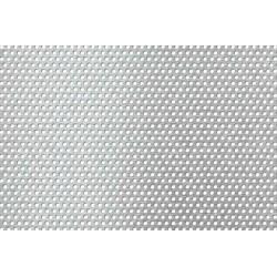 Lamiera forata in acciaio (aisi 316 L) dalle dimensioni di 100x200cm, spessore 1mm, foro ø2mm, passo 3,5mm a 60°