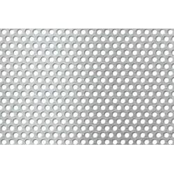 Lamiera forata in sendzimir dalle dimensioni 100x200cm, spessore 1mm, foro ø5mm, passo 7mm a 60°