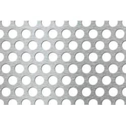Lamiera forata zincata in sendzimir dalle dimensioni 100x200cm, spessore 1,5cm, foro ø15mm, passo 21mm a 60°