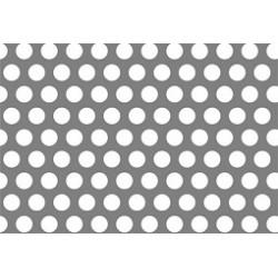 Lamiera forata FE (acciaio comune) dalle dimensioni 125x250cm, spessore 10mm, foro ø12mm, passo 18mm a 60°