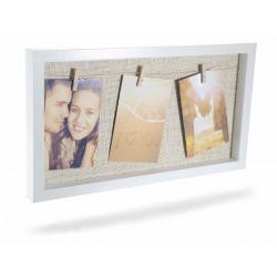 Quadro portafoto in legno con 3 mollette