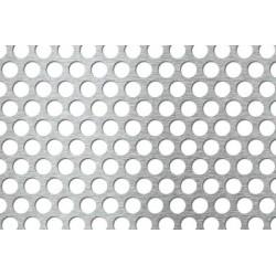 Lamiera forata in fe (acciaio comune) dalle dimensioni 100x200cm, spessore 1,5mm, foro rotondo Ø12mm, passo 15mm a 60°
