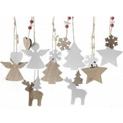 Decorazioni Natale in legno bicolore