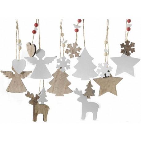 Decorazioni natale in legno bicolore for Decorazioni natalizie in legno da appendere