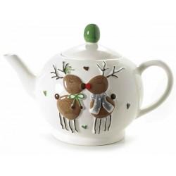 Teiera in ceramica con renne