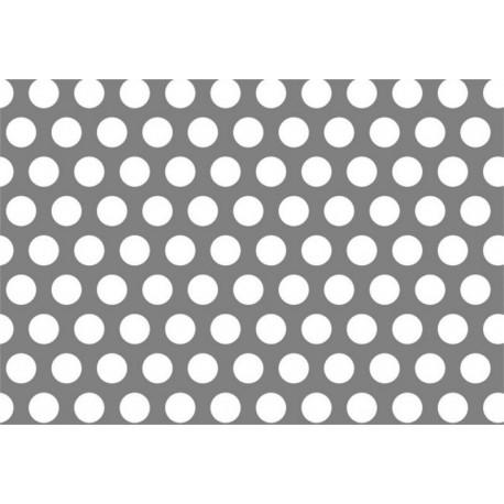 Lamiera forata in fe (acciaio comune) dalle dimensioni di 125x250cm, spessore 3mm, foro ø10mm, passo 15mm a 60°