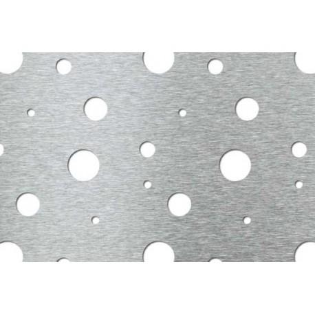 Lamiera forata in acciaio inox (aisi 304) dalle dimensioni 1250x2500, spessore 1mm,fantasia bolle di sapone