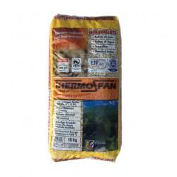 Pellet THERMOSPAN prodotto da 100% di legno di conifera.Tonalità bianco dorato, conforme alle normative europee EN Plus
