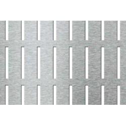 Lamiera in fe dalle dimensioni 1000x2000 spessore 1mm foro rettangolo 5x10 passo 8x13 a 90° parallelo lato corto