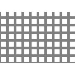 Lamiera forata in sendzimir dalle dimensioni di 125x250cm, spessore 2mm, foro quadro 10x10mm, passo 15mm a 90°
