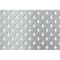 Lamiera forata in alluminio (lega 1050) dalle dimensioni 100x200cm, spessore 1mm, foro a giglio dimensione 15mm, passo 2