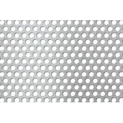 Lamiera forata in acciaio inox (aisi 304) dalle dimensioni di 40x50cm, spessore 1,5mm, foro ø8mm, passo 12mm a 60°