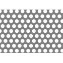 Lamiera forata in sendzimir dalle dimensioni di 100x200cm, spessore 1,5mm, foro ø3mm, passo 5mm a 60°