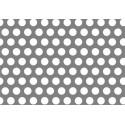 Lamiera forata in sendzimir dalle dimensioni di 125x250cm, spessore 2mm, foro ø3mm, passo 5mm a 60°