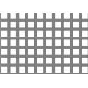 Lamiera forata in sendzimir dalle dimensioni di 150x300cm, spessore 2mm, foro quadro 10x10mm, passo 15mm a 90°