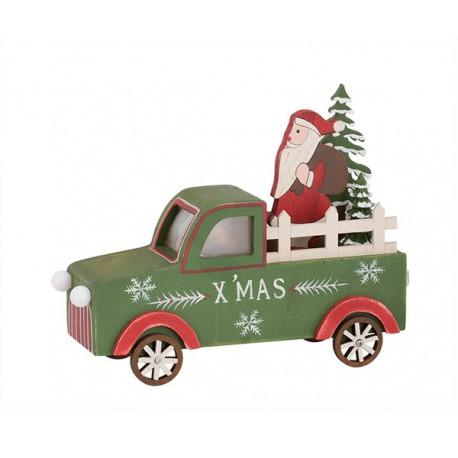 Pick Up in legno Babbo Natale con led