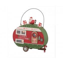Roulotte in legno Babbo Natale con led