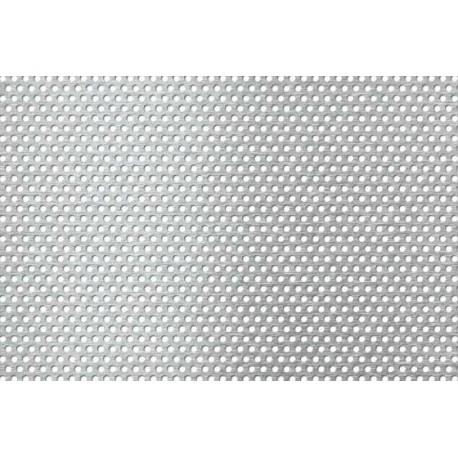 Lamiera forata zincata in sendzimir dalle dimensioni di 100x200cm,  spessore 1mm, foro ø1,5mm, passo 3mm a 60°