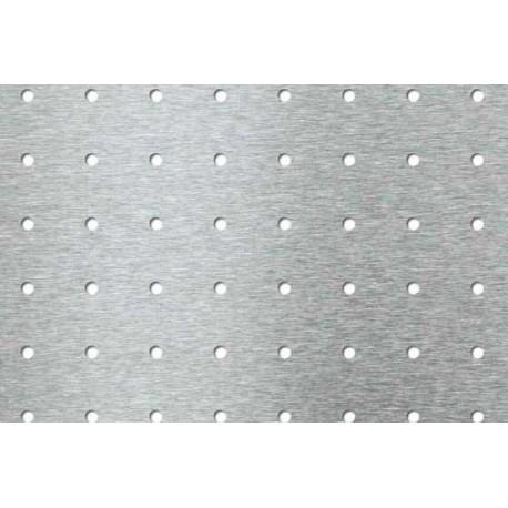 Lamiera forata zincata  (sendzimir) dalle dimensioni 325x700mm, spessore 1mm, foro ø7mm, passo 25 mm a 90°