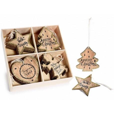 Decorazione natalizia in legno con glitter