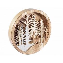 Quadro tondo  in legno con Led - cm 24,5