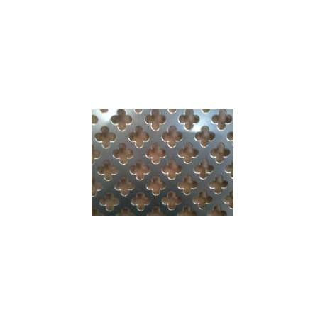 Lamiera in alluminio ( lega 1050 ) dalle dimensioni di 100x200  cm spessore 1,5 mm foro fiore Dimensione 11 passo 16
