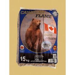 Pellet prodotto in Canada da 100% di legno di conifera.Tonalità bianco dorato, conforme alle normative europee EN14961-2