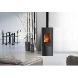 Stufa a legna Ivory EdilKamin con rivestimento in acciaio  nero, con apertura scorrevole verticale.