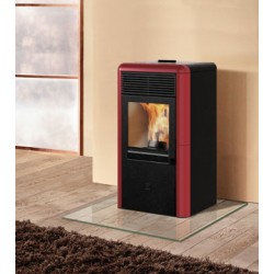 Stufa a pellet POINT 8kW Italiana Camini color bordeaux