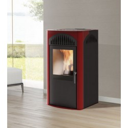 Stufa a pellet SIMPLI 7kW Italiana Camini color bordeaux