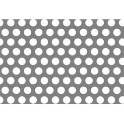 Lamiera in lamiera zincata ( sendzimir )  dalle dimensioni di 150x300 cm spessore 2mm  foro D.6 passo 9 a 60°